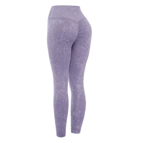 Purple Water Wash Seamless Yoga Pants TQE71347-8