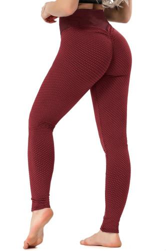 Red High Waisted Butt Lifting Yoga Gym Leggings LC263637-3