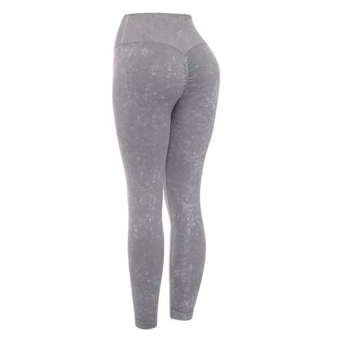 Dark Gray Water Wash Seamless Yoga Pants TQE71347-26