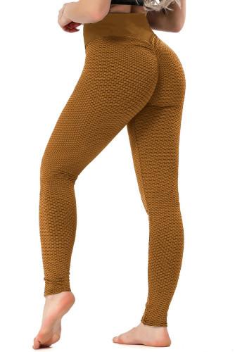Brown High Waisted Butt Lifting Yoga Gym Leggings LC263637-17