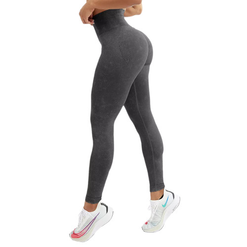 Black Water Wash Seamless Yoga Pants TQE71347-2