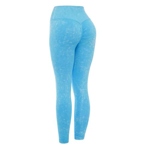 Dodger Blue Water Wash Seamless Yoga Pants TQE71347-24