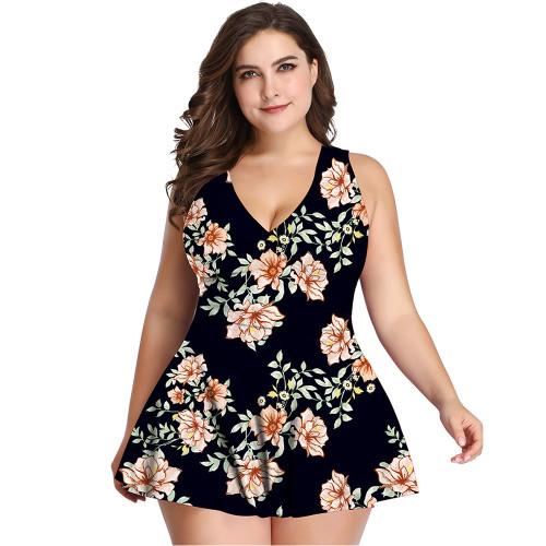 Black Floral Print Nylon Plus Size Tankini TQK610231-2