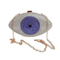 Silver Evil Eye Crystal Mini Evening Bag H21307-13