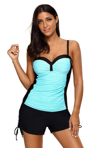 Sky Blue Spaghetti Straps Ruched Top and Drawstring Boy Shorts Tankini LC411502-4