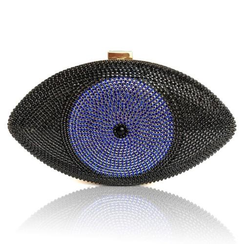 Black Evil Eye Crystal Mini Evening Bag H21307-2