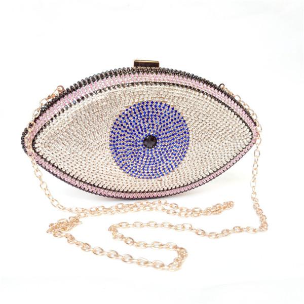 Pink Evil Eye Crystal Mini Evening Bag H21307-10