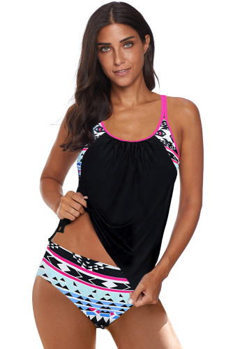Black Printed Lined Tankini Swimsuit LC411476-2