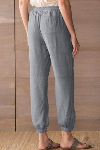 Gray Drawstring Elastic Waist Pull-on Casual Pants with Pockets LC771289-11