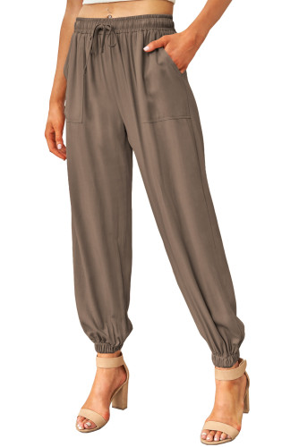 Brown Drawstring Elastic Waist Pull-on Casual Pants with Pockets LC771289-17