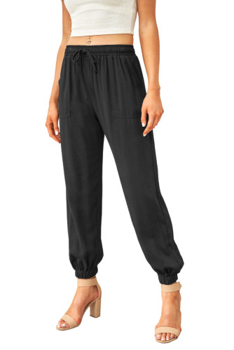 Black Drawstring Elastic Waist Pull-on Casual Pants with Pockets LC771289-2