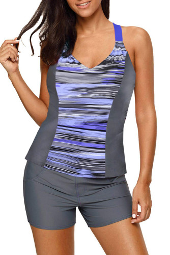 Purple Pattern Print Racerback Top and Boy Shorts Tankini LC46058-8