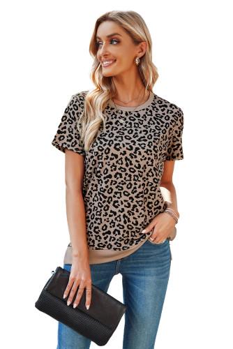Crew Neck Leopard Side Split T-shirt LC2524825-20