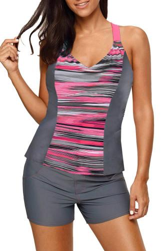 Pink Pattern Print Racerback Top and Boy Shorts Tankini LC46058-10