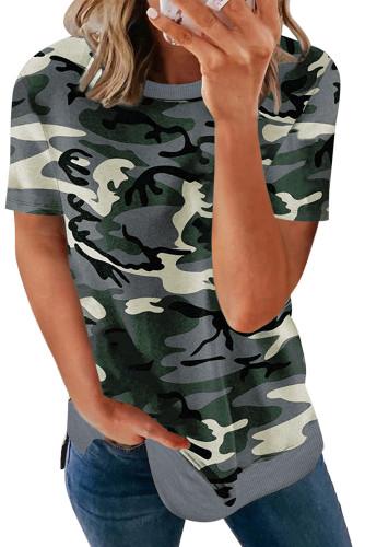 Multicolor Crew Neck Camo Side Split T-shirt LC2524825-22