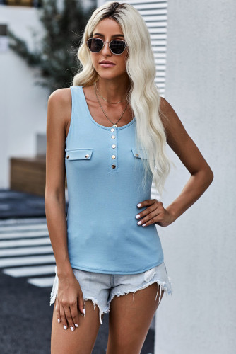 Sky Blue Buttoned Design Ribbed Knit Tank LC256031-4