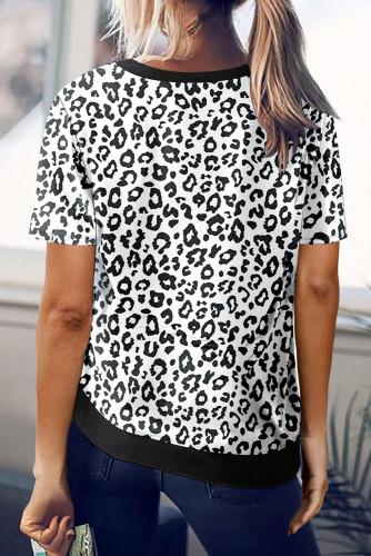 White Crew Neck Leopard Side Split T-shirt LC2524825-1