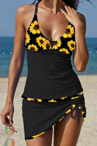 Push-up Sunflower Patchwork Tankini Set LC413431-2