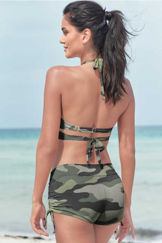 Halter O-ring Ruched Hem Bikini Set LC432751-9