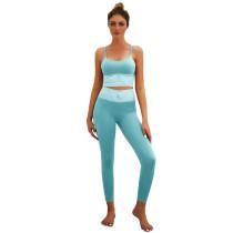 Light Blue Bra with Poacketed Pant Yoga Set TQE91359-30