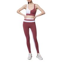 Wine Red Contrast Bra and Pant Yoga Set TQE91358-103