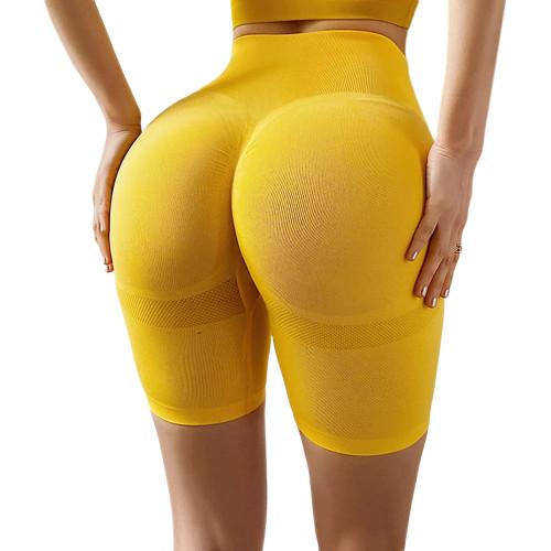 Yellow High Waist Sports Yoga Shorts TQE71351-7