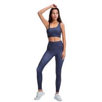 Gray Oblique Shoulder Bra and Pant Yoga Set TQE91357-11