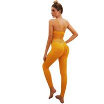 Orange Bra with Poacketed Pant Yoga Set TQE91359-14
