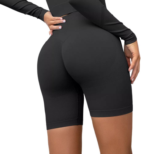 Black High Waist Sports Yoga Shorts TQE71351-2