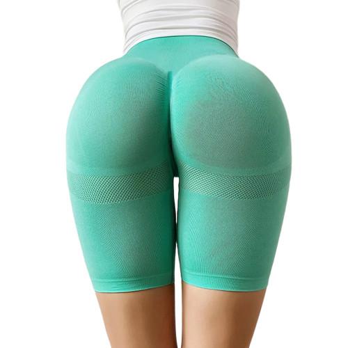Green High Waist Sports Yoga Shorts TQE71351-9
