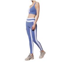 Blue Contrast Bra and Pant Yoga Set TQE91358-5