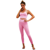 Pink Bra with Poacketed Pant Yoga Set TQE91359-10