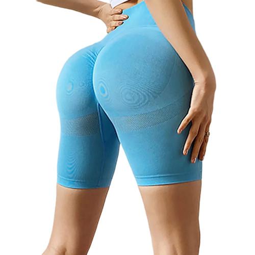 Blue High Waist Sports Yoga Shorts TQE71351-5
