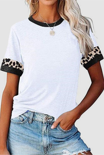 White Contrast Color Leopard Stitching Crew Neck Tee LC2525594-1