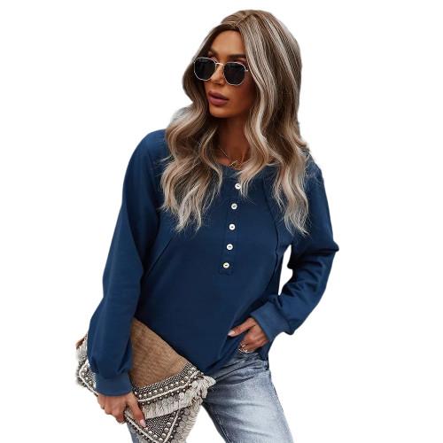 Navy Blue Button Detail Drop Shoulder Sweatshirt TQK230308-34