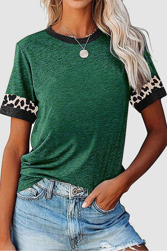 Green Contrast Color Leopard Stitching Crew Neck Tee LC2525594-9