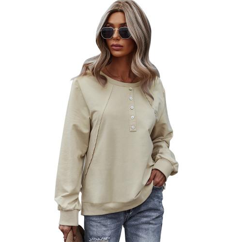 Apricot Button Detail Drop Shoulder Sweatshirt TQK230308-18