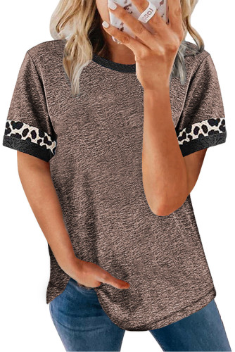 Brown Contrast Color Leopard Stitching Crew Neck Tee LC2525594-17