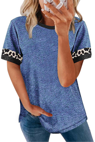 Blue Contrast Color Leopard Stitching Crew Neck Tee LC2525594-5