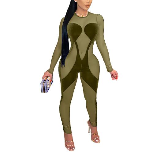 Army Green Mesh Splice Sexy Long Sleeve Jumpsuit TQK550258-27