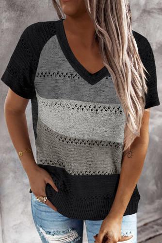 Black Stripe Print Knitted V Neck Top LC2515136-2