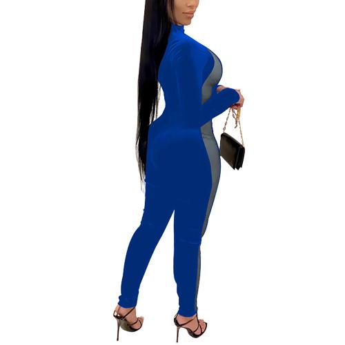 Blue Splice Mesh Detail Plus Size Jumpsuit TQK550259-5
