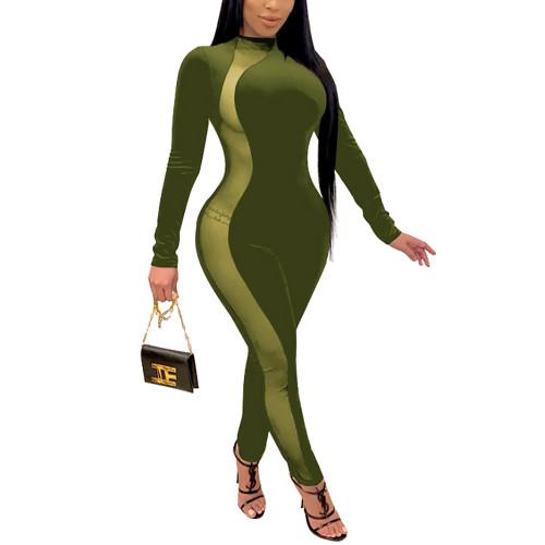 Army Green Splice Mesh Detail Plus Size Jumpsuit TQK550259-27