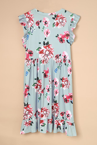 Gray Plus Size Floral Print Ruffle Sleeve Mini Dress LC614000-11