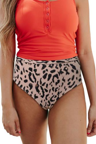 Leopard High Waist Tummy Control Bikini Bottom LC472078-20