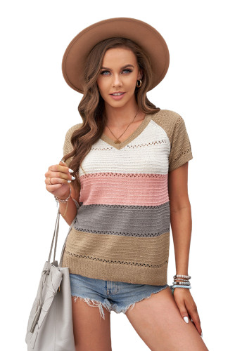 Multicolor Stripe Print Knitted V Neck Top LC2515136-22