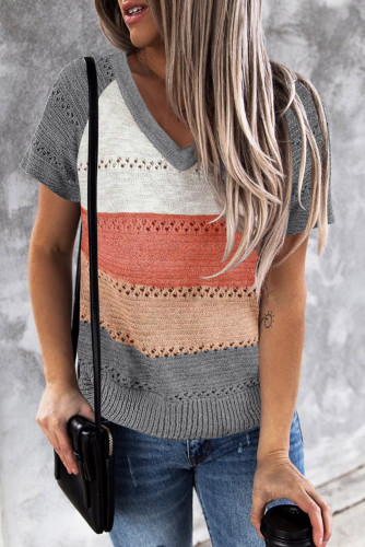 Gray Stripe Print Knitted V Neck Top LC2515136-11