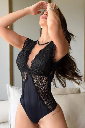 Black V Neck Crochet Lace Splicing Backless Bodysuit LC32779-2
