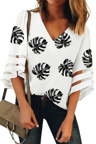 White V Neck Mesh Splicing Sleeve Palm Leaf Print Top LC2518236-1