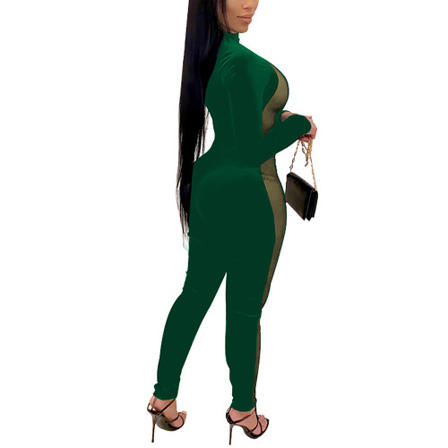 Green Splice Mesh Detail Plus Size Jumpsuit TQK550259-9